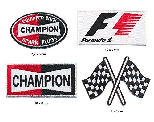 F1 Formel 1 Champion Aufnäher Aufbügler Patch 4 Stück Set TURBOVERSAND