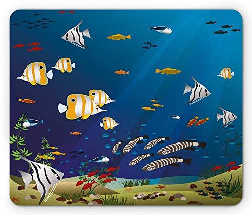Aquarium Mauspad, viele verschiedene Fische am Grund des Ozeans Deep Water Sealife Cartoon Natur, Rechteck Rechteck rutschfest Gummi Mousepad, mehrfarbig