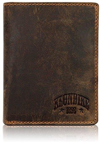 Klondike 1896 Evan Geldbörse Herren Leder – Portemonnaie Herren Hochformat Braun – Geldbeutel Portmonee Wallet Brieftasche Männer Portmonaise