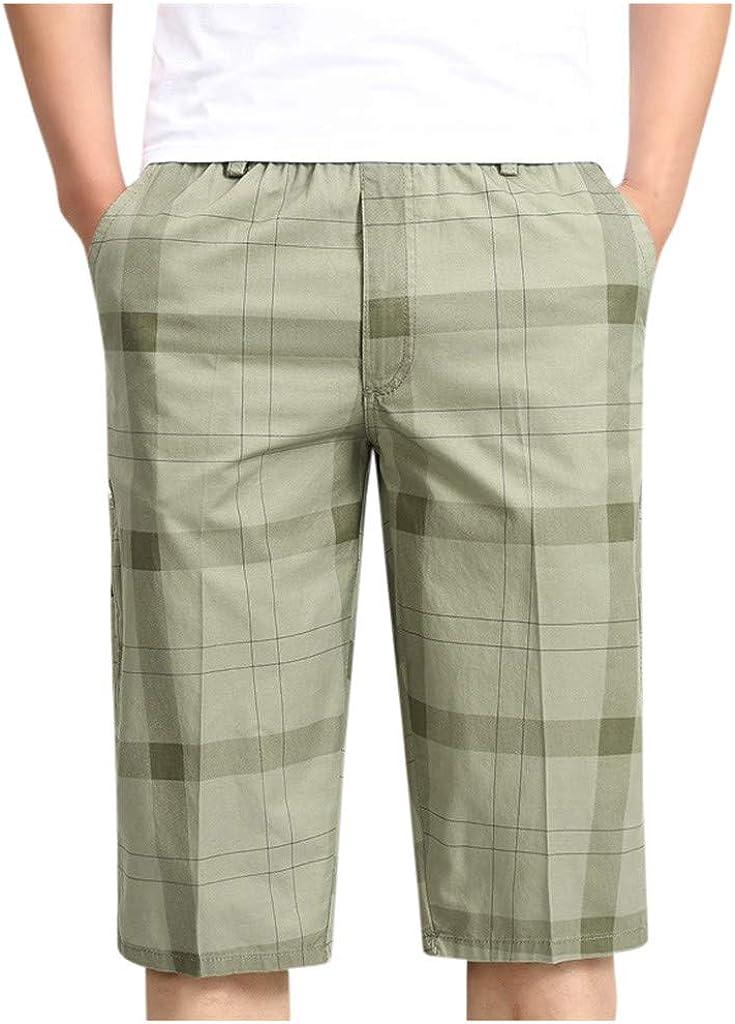 Gergeos Men Fashion Plaid Casual Shorts Relaxed Fit Elastic Waist Summer Cotton Shorts