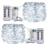 Cadena de Luces con 120 LED en Alambre de Cobre de 12Mx2, Cadena de Batería Impermeable Decoración Interior al Aire Libre para Dormitorio Jardín Fiesta (Blanco Frio)