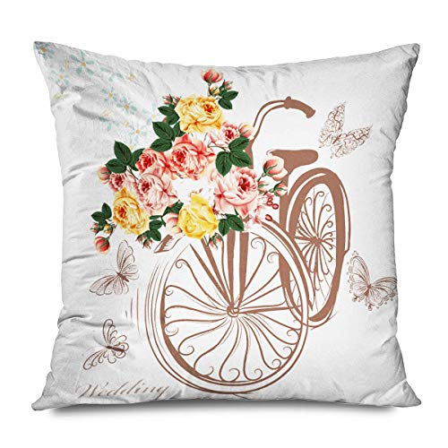 Retro Decorative Throw Pillows Cushion Cover for Bedroom Sofa Living Room Butterfly Flowers Patio Garden Summer Spring Floral Dragonfly Bike Insects Furniture Pillowcase 18X18 Inch