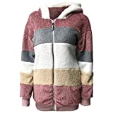 Women Contrasting Plush Padded Coat, Contrasting Lamb Wool Padded Coat,Winter Fashion Casual Warm Zip Jacket (Red, M)