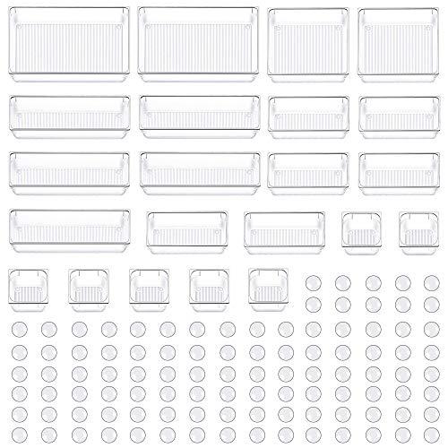Evance 22 Cajas Organizador de Cajón Plástico, Organizadores Transparentes para Cajones, Bandejas de Maquillaje Papelería Cubiertos para Dormitorio Baño Cocina Oficina Escritorio (22 Cajas)