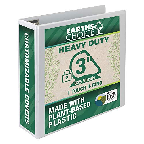 Samsill Earth's Choice Biobased Heavy-Duty 3 Ring View Binder, 3 Inch Locking One Touch D-Ring, USDA Certified Biobased, Eco-Friendly, Customizable Clear View Cover, White (19887)
