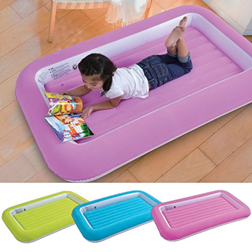 Parkland Kid's Children's Inflatable Safety Flocked Kiddy Airbed Toddlers Camping Air Beds Soft Comfortable Fun Colourful Guest Sleepover (Pink)