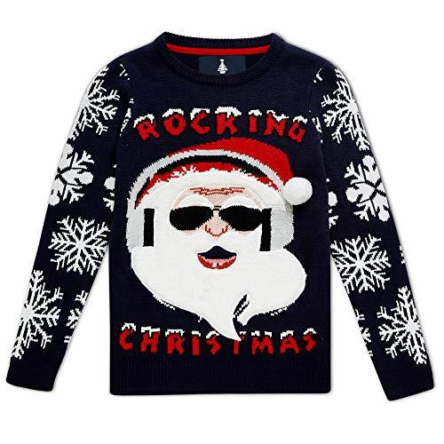 Noroze - Jersey de Navidad para niños, diseño de Papá Noel Azul Papá Noel balancín de Navidad azul marino 7-8...