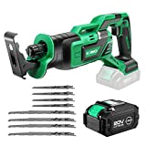 KIMO 20V 4.0Ah Li-ion Brushless Cordless Reciprocating Saw w/Battery & 1 Hour Fast Charger, 1' Stroke Length, Variable Speed, 8 Saw Blades for Wood/Metal/PVC Pipe Cutting, Demolition, Tree Trimming