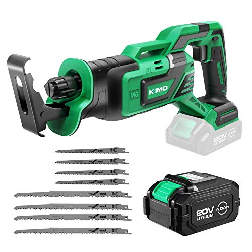 Cordless Reciprocating Saw, KIMO 20V Brushless Reciprocating Saw w/4.0Ah Battery & 1-Hour Fast Charger, 1' Stroke Length, 8 Saw Blades for Wood/Metal/PVC Pipe Cutting, Demolition, Tree Trimming