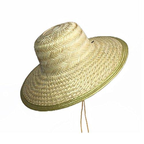 Rieten hoed Heren Vissen Hoed, Zomer Brede Golven Visor Heren En Dames Outdoor Werk Zonnehoed UV Bescherming Strandmuts Met Kin Band