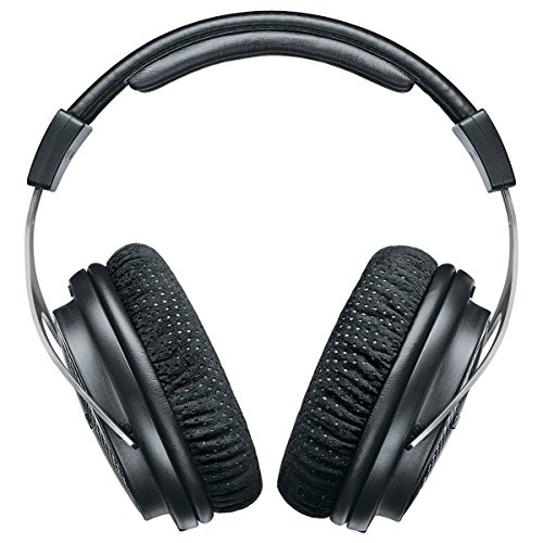 Shure SRH1540 Professional Premium Closed-back Headphones, clear, extended highs and warm, accurate bass, aluminum alloy and carbon fiber construction, Alcantara? ear pads, detachable cable, black/silver