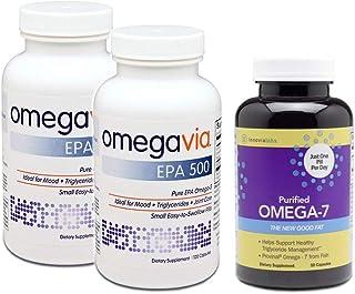 2瓶美国OmegaVia 99%高纯度EPA omega3鱼油丸+ 1瓶美国InnovixLabs 超纯Omega7鱼油丸 较?#29616;兀?#20307;重问题-血糖-?#33041;?#38382;题
