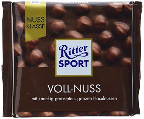 RITTER SPORT Voll-Nuss (10 x 100 g), Vollmilchschokolade mit ganzen Haselnüssen, knackig geröstet, hochwertige Nuss-Schokolade