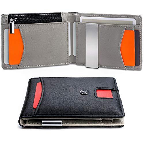 Portafoglio uomo e-GALE - Con Protezione RFID - Elegante e Compatto, Non Gonfia le Tasche dei Pantaloni - Tanti Scomparti per Tessere, Banconote, Monete, Carte di Credito - Nero e Grigio