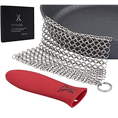 Kitchen Shaq Stainless Steel Chainmail Scrubber XL 8x6, Cast-iron Cleaner + Silicone Hot Handle Holder