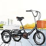 OHHG Triciclo Adultos 3 Ruedas Cesta la Compra, Velocidad única, Triciclo Adultos 16 Pulgadas, Bicicleta Crucero Pedal, Bicicleta montaña IR Compras, Deportes Picnic al Aire Libre