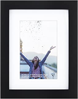 RPJC 6x8 inch Picture Frames Made of Solid Wood and High Definition Glass Display Pictures 4x6 with Mat or 6x8 Without Mat for Wall Mounting Photo Frame Black