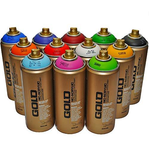 Montana Gold Premium Spray Paint 400ml Main Colors Set of 12