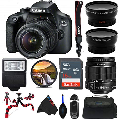 Canon EOS 4000D DSLR Camera with 18-55mm f/3.5-5.6 III Lens - Pixi Advanced Bundle (International Version)