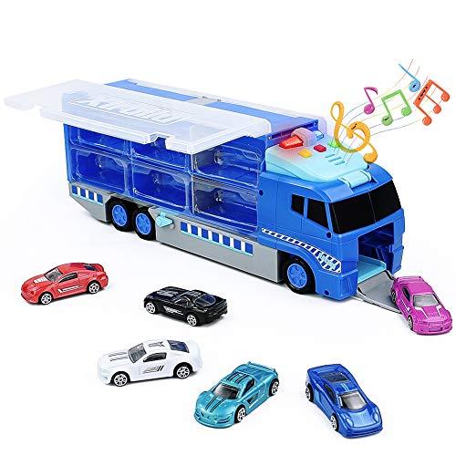 Symiu Coches de Juguetespara Niños 3 4 5 6 Años Camión de Transportador con Música y Luz + 6 Piezas Coches de Aleación Rampas para Coches Juegos Regalos para Niños