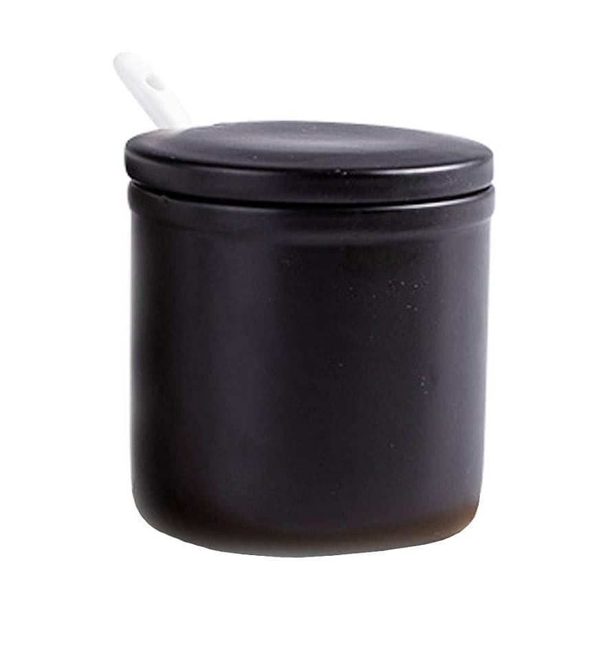 FUYU Matte Simple Ceramic Sugar Bowl Seasoning Box Condiment Pot with Lid Spoon