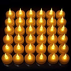 Flameless LED Tea Light Candles, Realistic, Battery Powered, Unscented LED Candles, Fake Candles, Tealights (24 Pack) - Divine LEDs