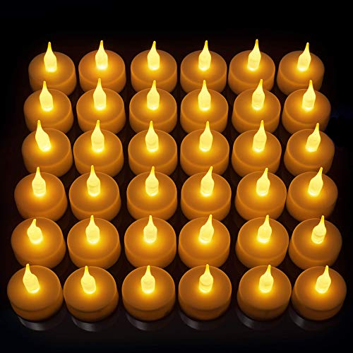 Vont LED Candles, Lasts 2X Longer, Realistic Tea Lights Candles, LED Tealight Candles, Flickering Bright Tealights, Battery Operated Candles, Flameless Candles, Unscented, Batteries Included (24)