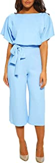 ZQISHMAO Women Elegant Playsuit Summer Short Sleeves Party Wide Leg Jumpsuit Romper with Belt