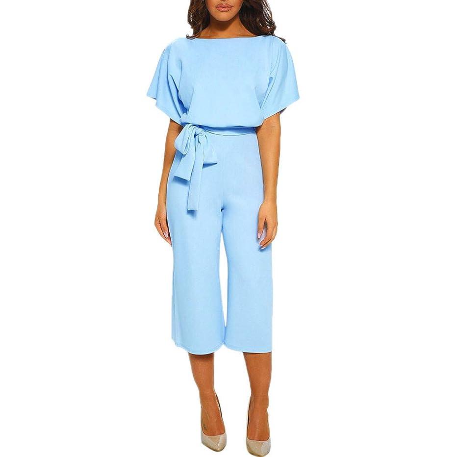 Kexdaaf Long Jumpsuit, 2019 New Women Fashion Short Sleeve Playsuit Slim Party Clubwear Straight Leg Romper with Belt