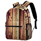 Wood Texture Material Vintage Backpack School Backpack Book Bag Casual Daypack for Travel