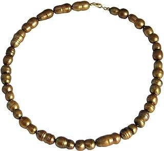 Gemshine - Collana da donna in argento Sterling o oro 18 carati con perle coltivate barocche, in bronzo dorato Tahiti, rea...