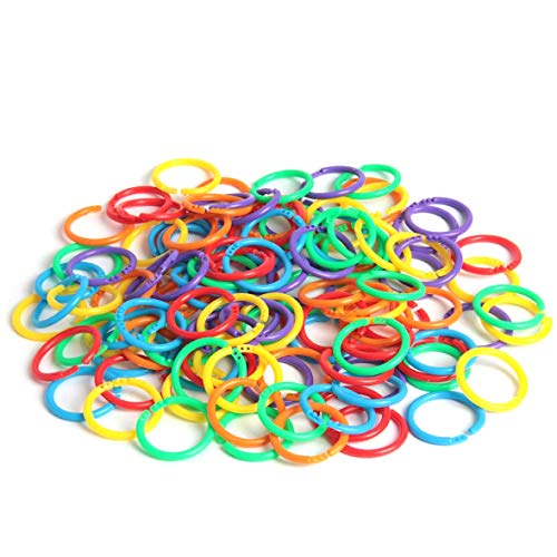 120 Pack Plastic Book Rings Multi Color Loose Leaf Binder Ring Clip Flexible Notebook Rings Split Rings Small Keychains Key Rings for Cards, Document Home Office School Use, 6 Colors (27 mm)