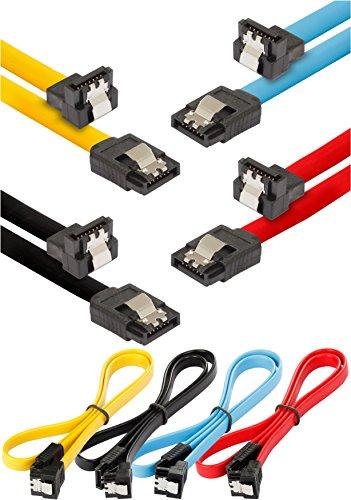 Poppstar - 4X Sata 3 HDD Cable De Datos SSD (0.5 M, Enchufe Recto A 90 ° En Ángulo) (Hasta 6 Gbit/S), Disco Duro Cable Sata, Placa Base, Negro, Amarillo, Rojo, Azul