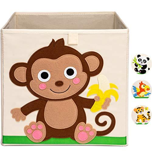 Ceria Star Kinder Aufbewahrungsbox | Spielzeug Box (33x33x33) mit Tiermotiven für Baby- und Kinderzimmer | Faltbare Spielzeugkiste zur Aufbewahrung im Kallax Regal | Affe