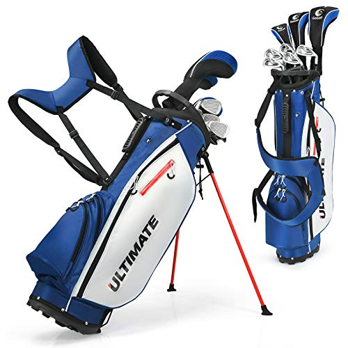 COSTWAY 10-teiliges komplettes Herren Golfschläger Set mit 460cc Driver | Fairway-Holz | Hybrid | Eisen 6, 7, 8, 9, PW & Putter, Golfset
