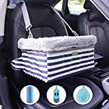 MARSLABO Dog-Car-Booster-Seat Upgrade Metal Frame Construction with Clip-On Safety Leash and Dog Blanket,Perfect for Small Pets up to 20lbs