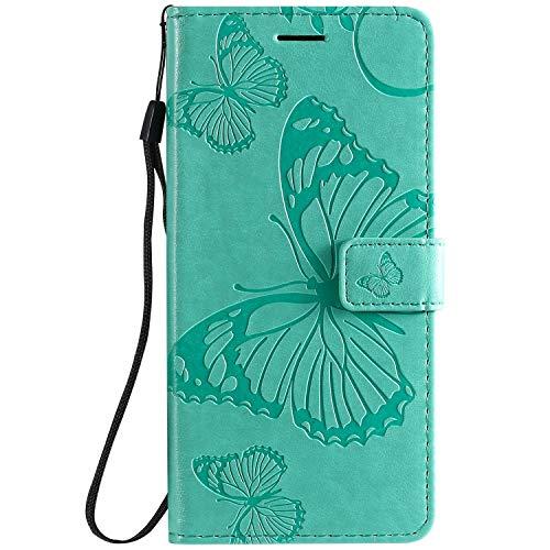 DENDICO Hülle für Xiaomi Redmi 8A, PU Leder Handyhülle Schutzhülle mit Standfunktion & Kartenfach für Xiaomi Redmi 8A - Grün