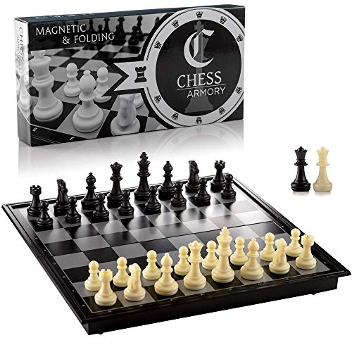 Chess Armory Travel Chess Set 9.5' x 9.5'- Plastic Chess Set with Folding Magnetic Chess Board, Staunton Chess Pieces, Storage Box, & 2 Extra Queens - Portable Chess Set Board Game
