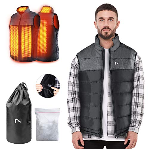 Heated Vest for Man Woman, Electric Heating Coat Dual Independent Temperature Control Extra Collar Heated Hiking, Ice skating for Heated Jacket Sweater Thermal Underwear Battery Not Included