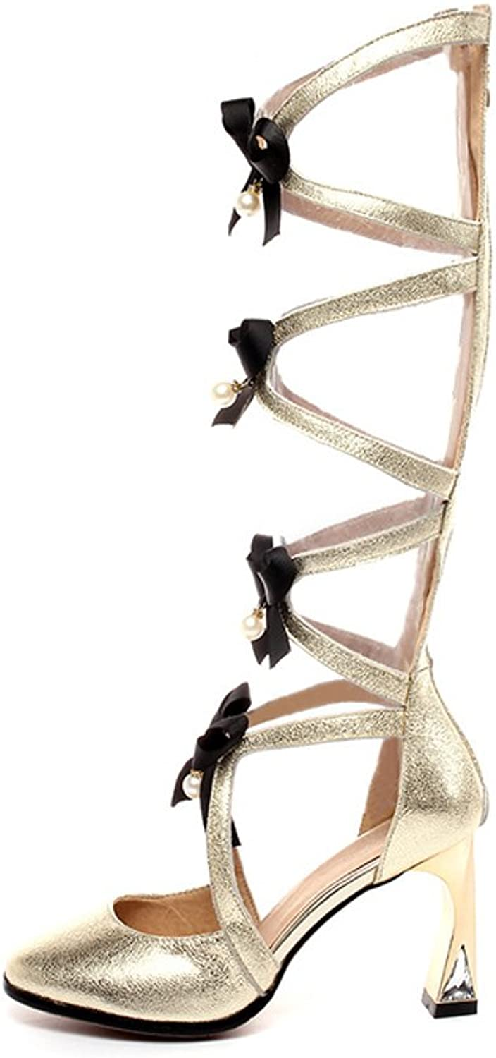 MINIVOG Chunky High Heel Womens Strappy Gladiator Sandal shoes with Bows Rhinestone and Pearls