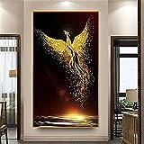Nicole Knupfer DIY 5D Diamant Painting,Goldener Phönix cristal Strass diamante pintura bordado imágenes arte artesanía para Home Wall Decor Wandbehang, 40 x 80 cm