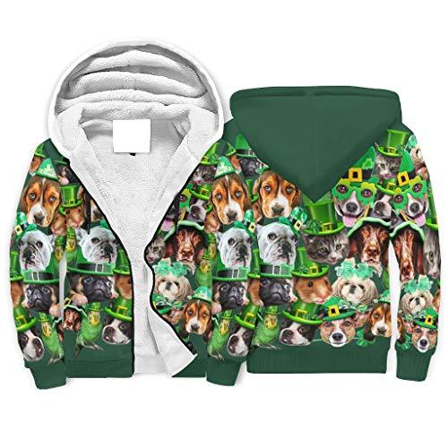 FFanClassic Sudadera de forro polar con capucha para el Día de San Patricio Animal para hombre Novedad Esenciales Bolsillos Capucha blanca 4XL
