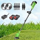 decespugliatore batteria, 24v tagliaerba elettrico con lame metalliche e 2*batteria, leggero,testata regolabile e maniglia telescopica, per prato campo da giardino,green cordless strimmer,b