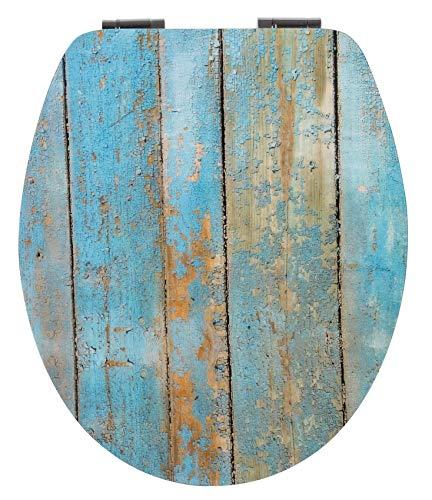 Calmwaters® WC Sitz Holz mit Absenkautomatik Motiv Shabby-Chic, Fast-Fix-Befestigung aus Metall, universale O-Form, stabiler Holzkern Toilettendeckel, Komfort Toilettensitz - 26LP2817