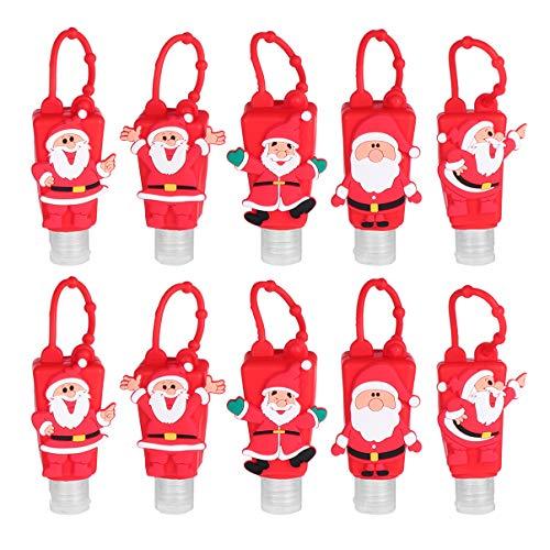 Cabilock 10 Pezzi Portachiavi Portachiavi Bottiglie da Viaggio Portatili Vuote con Custodia in Silicone Tappo a Conchiglia a Prova di Perdite Contenitori da Viaggio Ricaricabili Natalizi