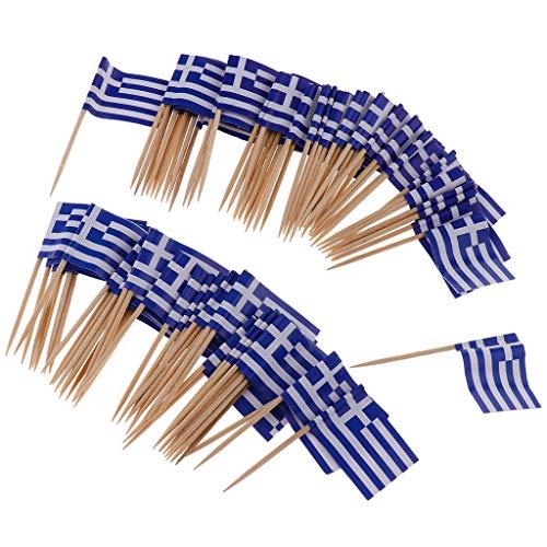 non-brand 100x Nationelle Flagge Sticks Stäbchen Zahnstocher Spieße Dekoration für Cocktail Obst Sandwich Cupcake usw. aus Papier und Holz - Griechenland
