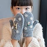 YOUZHIXUAN Un par de Copos de Nieve de Navidad de un par Que engrosan el Invierno Guantes de Dedos completos de Punto cálido (Negro) (Color : Grey)