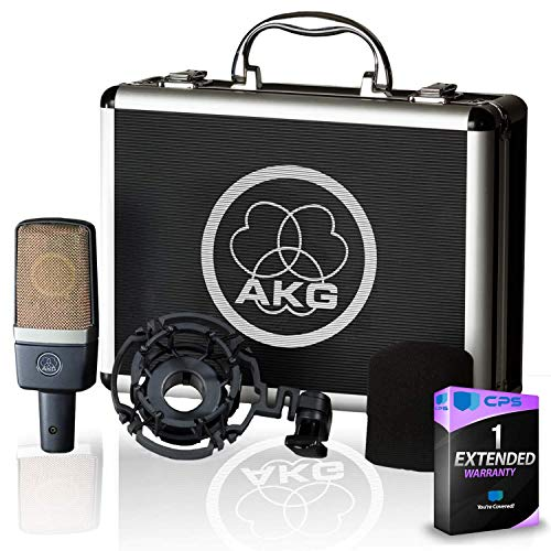 AKG C214 Large-Diaphragm Condenser Microphone with Shockmount, Carrying Case and Warranty(Renewed)