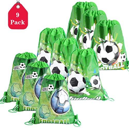 Amycute 9 pcs Mochilas fútbol de Niño, Bolsas de Cuerdas Verde Mochila Tela no Tejida Bolsa de Deportiva Fiesta Cumpleaños Mochila de Viaje Bolsa de Baile Gimnasio para Adolescentes Niñas
