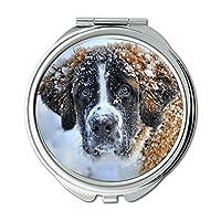 ミラー、コンパクトミラー、犬雪St Bernard Dog冬のペット動物の毛皮、ポケットミラー、携帯用ミラー